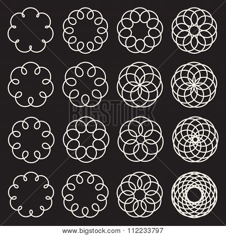 Set Of Sixteen Spirograph Line Circles Decorative Design Elements