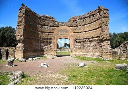 Ancient Ruins Of Villa Adriana ( The Hadrian's Villa ), Ninfeo Palazzo, Tivoli, Italy
