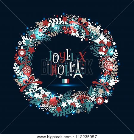 Christmas Wreath In Colors Of A Flag Of France With An Inscription In French Languageas!