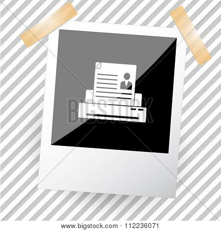 printer. Photoframe. Raster icon.