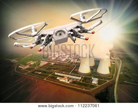 Drone controled from terrorist attacking to nuclear power plant. Digital artwork of fictional vehicle on UAV theme.