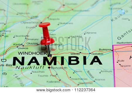 Windhoek pinned on a map of Africa