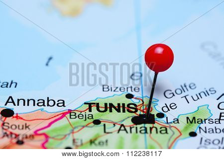 Tunis pinned on a map of Africa