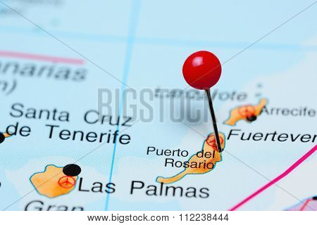 Puerto del Rosario pinned on a map of Africa
