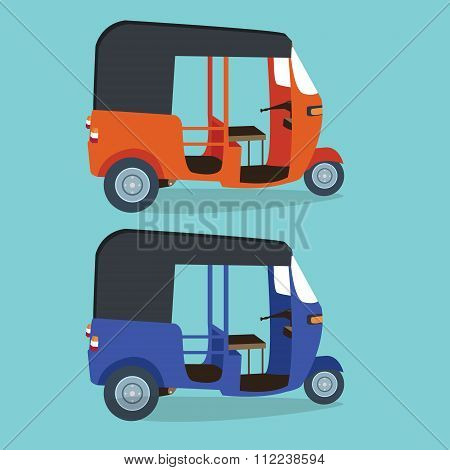bajaj bajai indonesia transportaion drawing flat vector illustration jakarta urban icon transport or