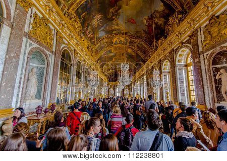 Impressive and beautiful Hall of Mirrors, Versailles Palace, France