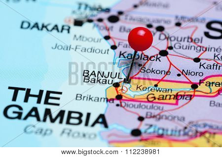 Banjul pinned on a map of Africa
