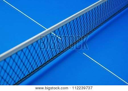 Net On A Blue Pingpong Table
