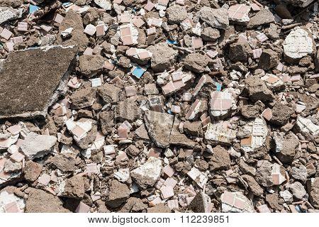 Background Of Brick Rubble Debris