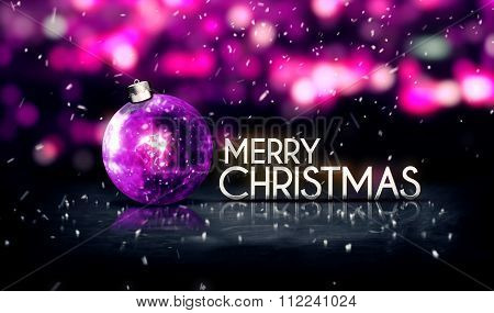 Purple Silver Merry Christmas Bokeh Beautiful 3D Background