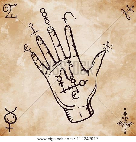 Vintage fortune teller hand with spell elements .
