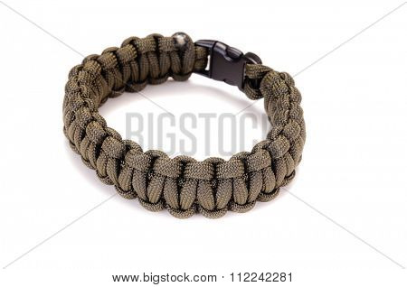 Khaki Cobra weave Parachute cord bracelet on a white background
