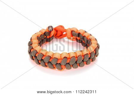 Parachute cord bracelet on a white background