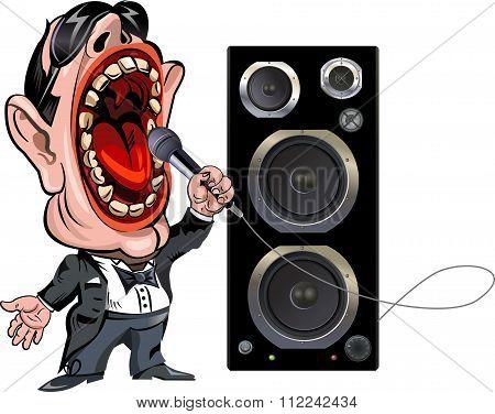 Funny Cartoon Singer