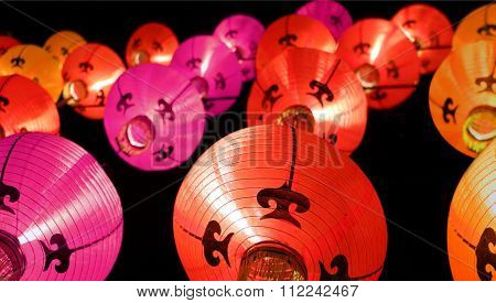 Colorful Lanterns At Night - Chinese New Year Decorations