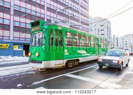 Sapporo Tram on the road