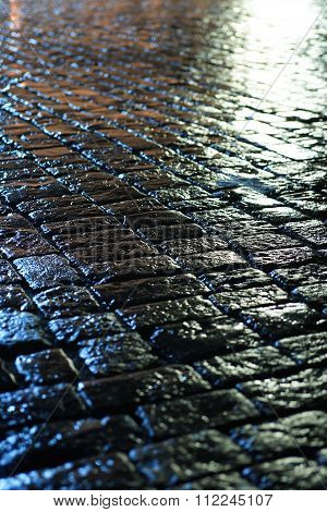 Wet Pavement At Night