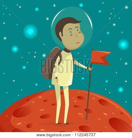 Spaceman with banner. Space concept. Vector cartoon illustration