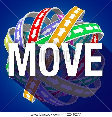 Move word with long shadow on arrows going around in a cyclical motion to illustrate mobility, movement and progress