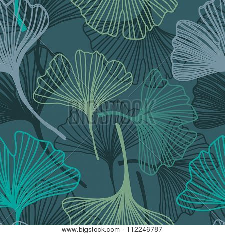 Gingko biloba seamless pattern. Abstract vector background in dark nature colors