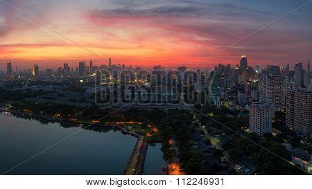 Bangkok city downtown at sunset