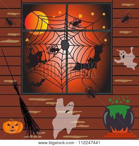 Halloween Haunted House Vector Illustration
