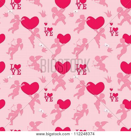 Seamless Pattern With Silhouettes Of Angel, Heart, Bird And Calligraphic Text Love. Valentine`s Day