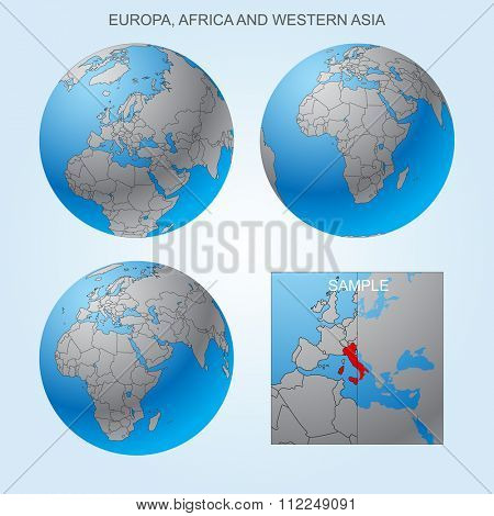 Globe set with Europe, Africa and Western Asia with borders of countries. Easy to select every country and delete contour of borders. Vector illustration