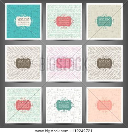 Set Grunge Hand Painted Abstract Pattern