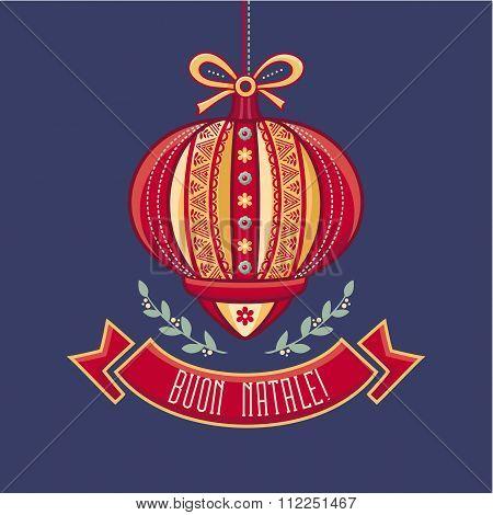 Italy Christmas card. Buon Natale.
