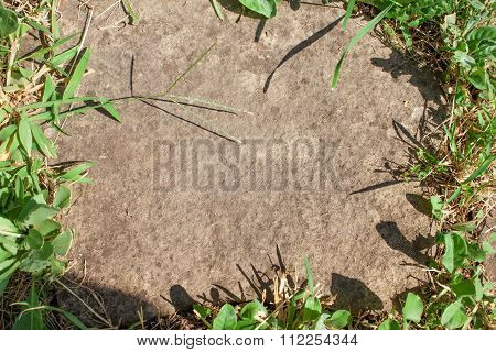 Stone in frame of grass