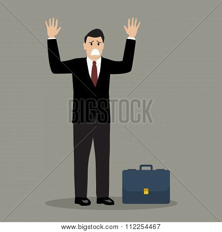 Businessman In A Suit Surrendering