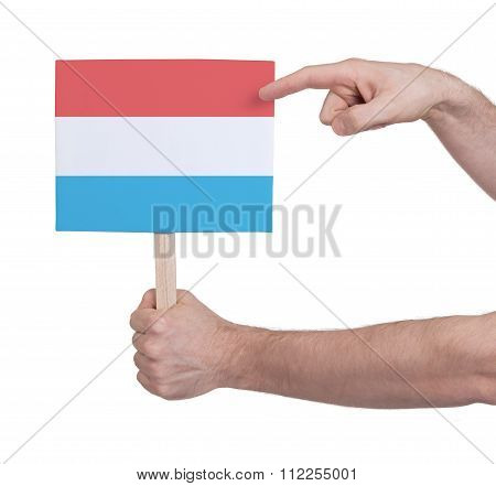 Hand Holding Small Card - Flag Of Luxembourg