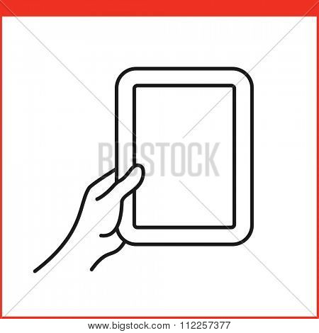 Touch screen gestures icon for tablet pc. Simple outlined vector icon for a mobile app user interface or manual. Tablet gesture icon in linear style