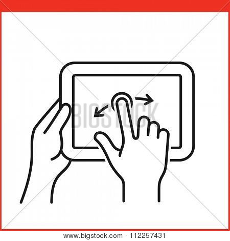 Touch screen gesture for tablet pc and smartphone. Simple outlined vector icon for a mobile app, user interface and manual. Tablet gesture icon in linear style