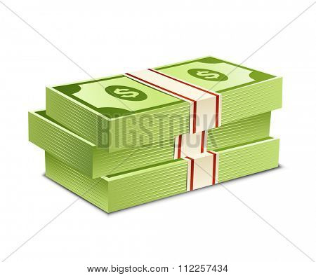 Pack of bank notes. Vector illustration. Packs of dollars money