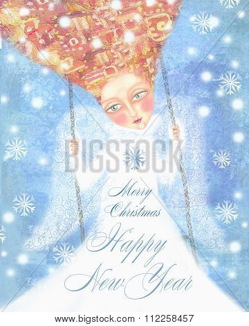Angel In White Clothes With Foxy Hair Swinging In The Blue Sky With Snowflakes.