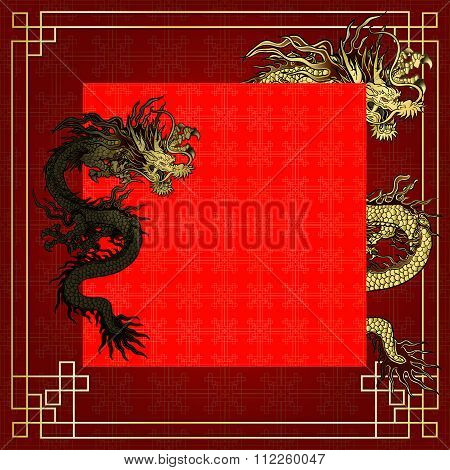 Frame Red Dragon Gold-colored Sticker 5