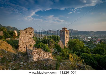 Stari Bar fortress medieval clock tower