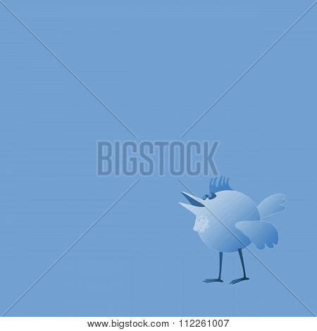 Bird in blue shades with copy space