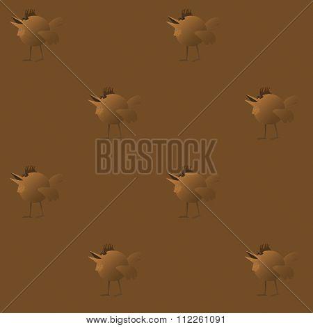 Seamless bird pattern gold