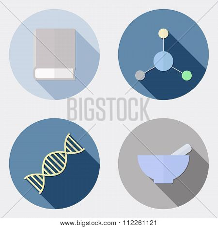 Flat design scientific research icons with long shadow 2
