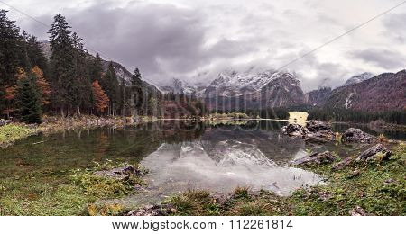 Lago Di Fusine - Mangart Lake In The Autumn Or Winter.