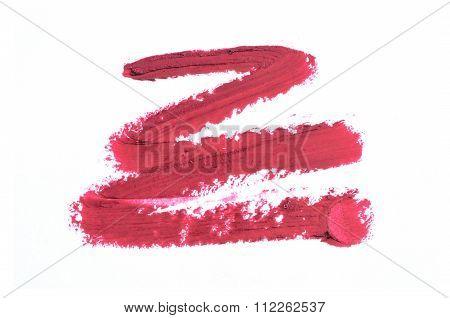 Smudged Lipstick Over White
