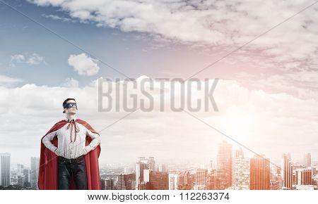 Confident super hero