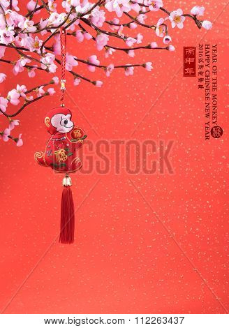 Chinese lunar new year ornaments on festive background.2016 is year of the monkey,chinese traditional knot,calligraphy fu mean good bless