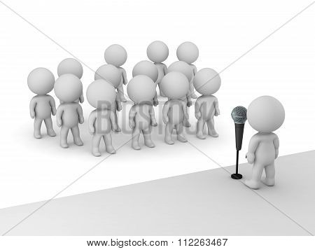 3D Character Public Speaker With Microphone In Front Of Many Other Characters