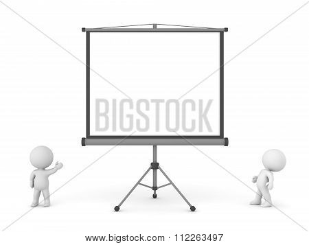 Small 3D Character Showing Large Projector Screen