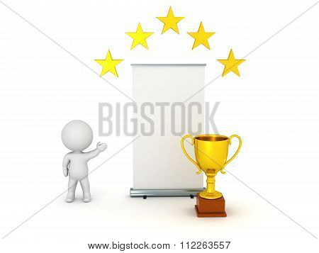 3D Character Showing Rollup Poster With Golden Trophy And Stars