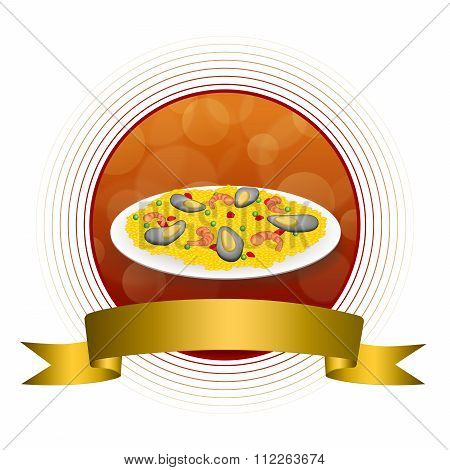 Abstract background food paella rice peas pepper shrimp mussel green red gold circle frame ribbon